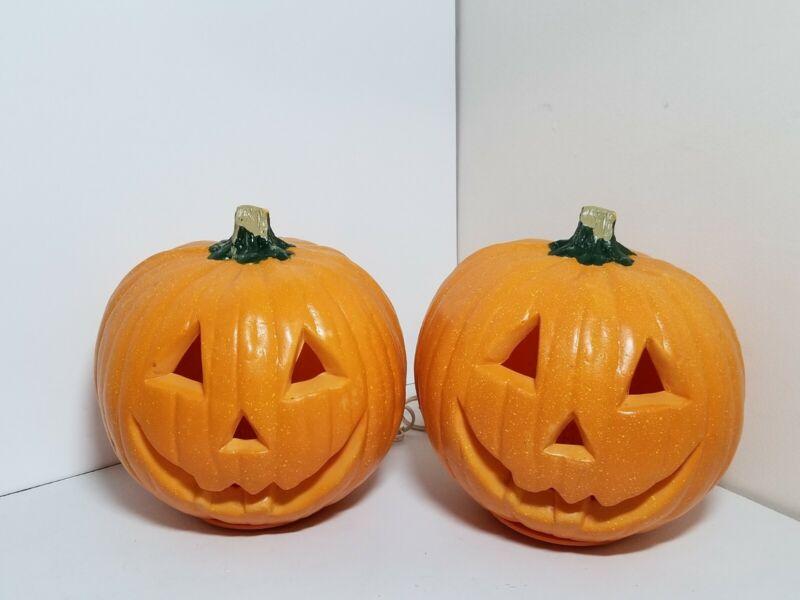 Lot of 2 Vintage Gemmy Halloween Foam Mold Jack O Lantern Light Up Pumpkins