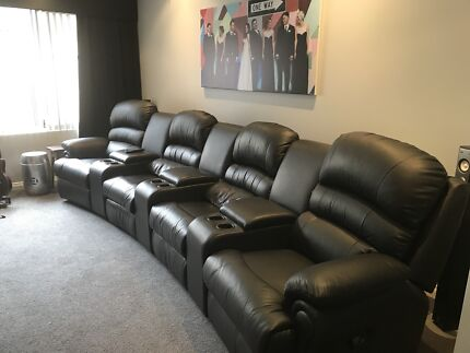 4 seater black leather theatre lounge