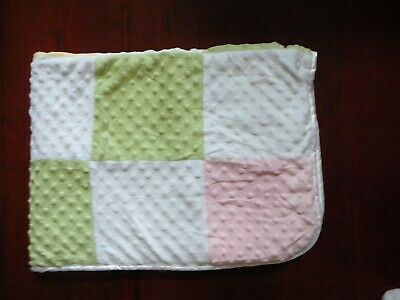Just Born Minky Dot Pastel Patchwork Baby Blanket Yellow Sherpa  - Just Dots Pastel
