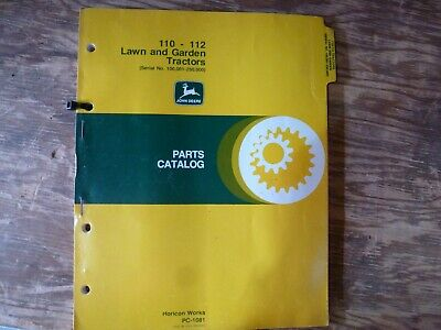 John Deere 110 112 Lawn Garden Tractor Parts Catalog Manual Pc-1081 Sn 100k-250k