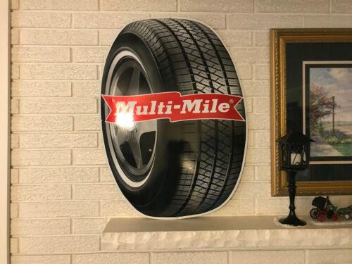 """Large Ovoid Multi-Mile Tires Aluminum Graphic Sign 23 x 31"""""""