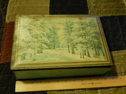 """NABISCO National Biscuit Company [Metal Hinged Lid Tin] Vtg """"Winter Forest Walk"""""""
