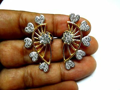 Indian Bollywood Bridal Floral 2pc CZ AD Gold Silver Plated Earcuff Earrings