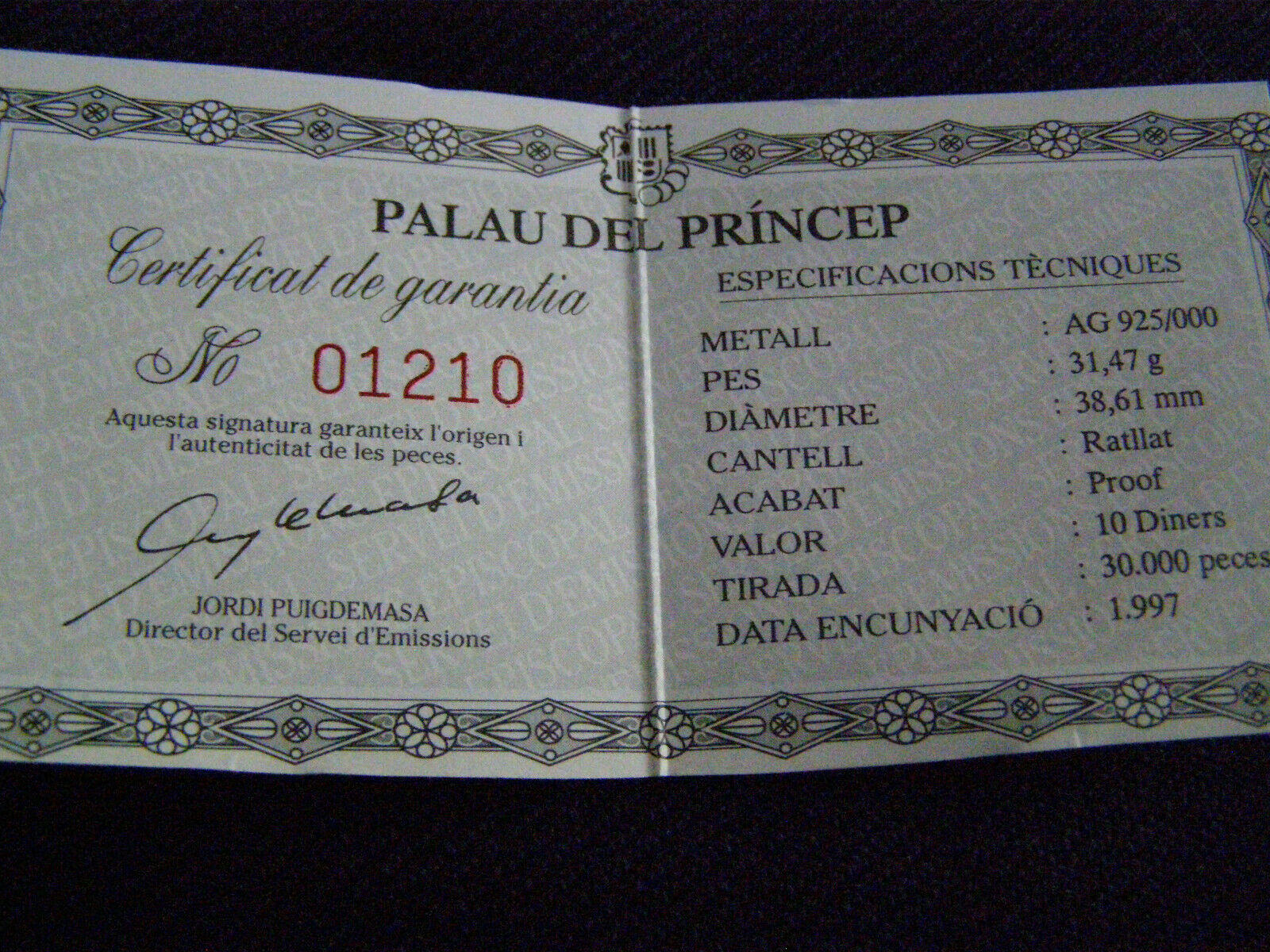 Andorra 10 Diners 1997 925 Silber 31,47g PP Palau Del Princep Limitirt 30.000st. - 28,00 €