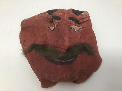 1920s 1930s Devil Red Face Man W/ Mustache Vintage Halloween Gauze Cloth MASK](Devil Mustache)