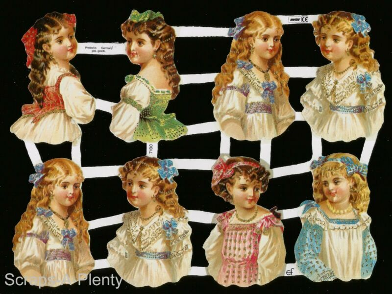 German Victorian Style Embossed Scrap Die Cut - Victorian Children NICE   EF7100