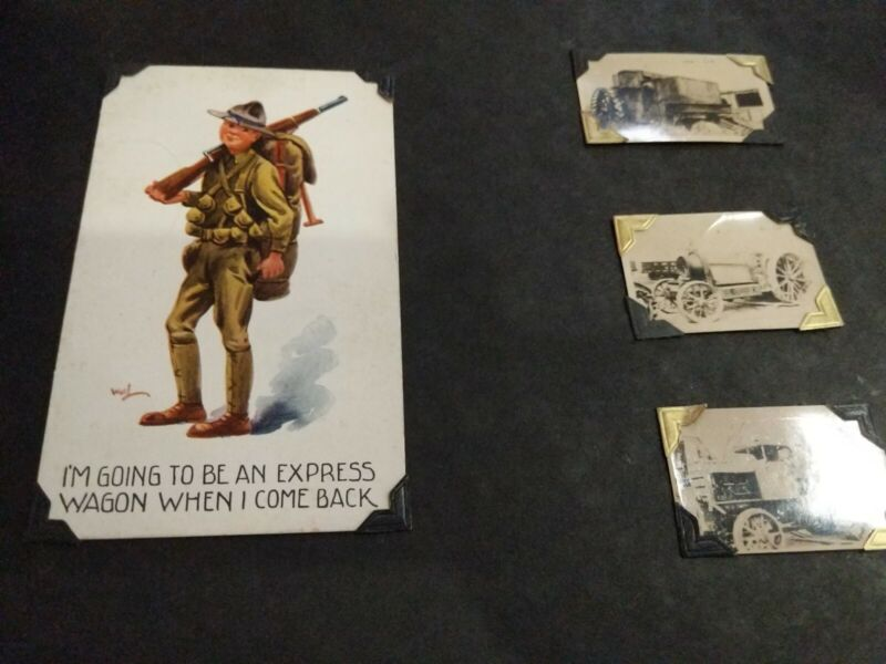 WW1. USA AEF DOUGHBOY Postcard & Photo Album. Tanks, Artillery etc
