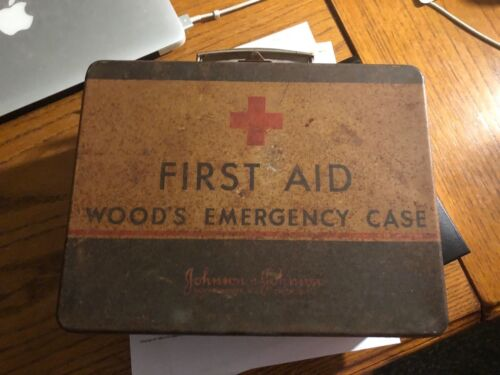 Vintage First Aid Kit, Advertising Tin, Johnson, Contents, Red Cross Bandage