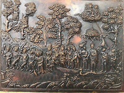 Antique Chinese Tibetan copper plaque fine detail old hindu buddha buddhist