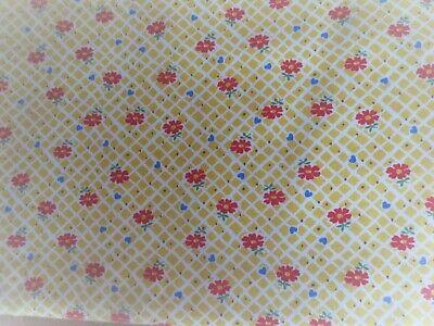 Windham Fabrics Sugar Sack Yellow With Red Flowers On Checks Cotton (Yellow Check Fabric)