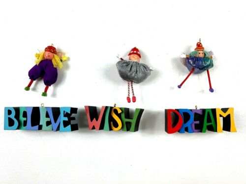 Hallmark ornaments Paintbox Pixies Wish Dream Believe lot of 5 from 2004