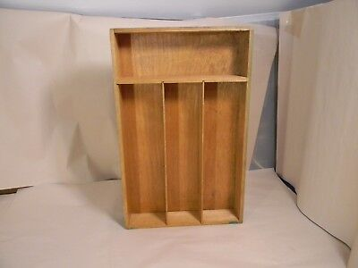 Vintage Flatware Storage Tray / Drawer Organizer - Green Painted Wooden -