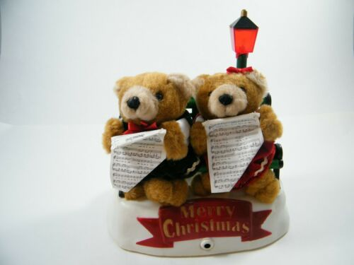 VINTAGE GAF MERRY CHRISTMAS BEARS ON BENCH SINGING