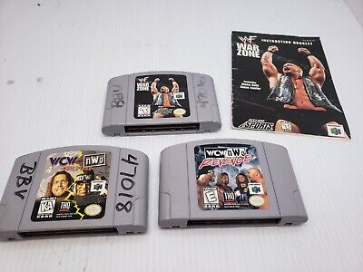 Nintendo N64 Game Bundle Lot of 3 Wrestling Games - WWF War Zone, WCW Revenge +