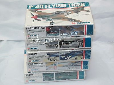 5 VINTAGE AIRFIX 1/72 MODEL AIRPLANES NEW IN BOXES TIGER WILDCAT WIDGEON