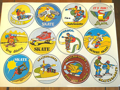 12 Original  Vintage 70's Skateboard Stickers 8 cm - Old Stock lot