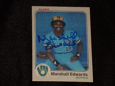Marshall Edwards 1983 Fleer Signed Autographed Card  32 Milwaukee Brewers Tough
