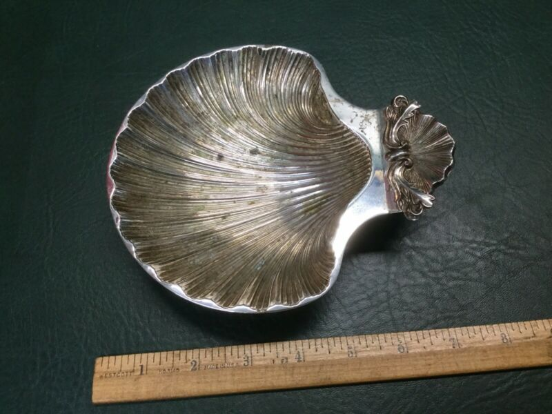 Vintage A1 Plate, England Silver Plate Footed Scallop Shell Dish