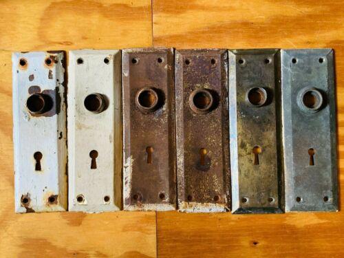Vintage Set 6 Various Finish DOOR KNOB PLATES Minimalist Mission Style Rustic