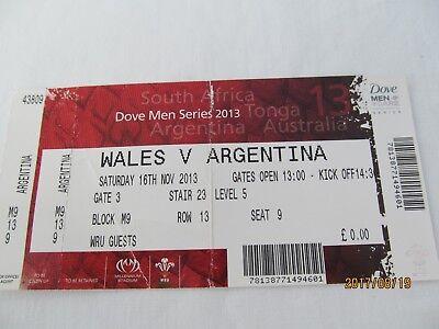 Unused Ticket Stub. Wales v Argentina. 16th November 2013.