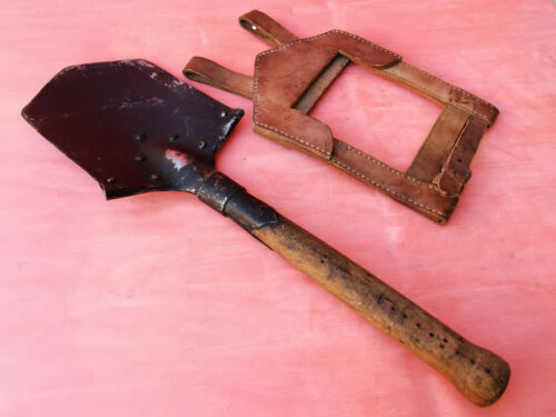 OLD MILITARY WWI BLECKMANN Murzzuschlag SHOVEL TRENCH LEATHER CASE SIGNED 1915