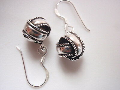 Bali Rope Style Knot Dangle Earrings 925 Sterling Silver - Knot Dangle