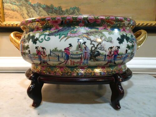 Vintage Chinese Handpainted Porcelain Oval Fish Bowl Planter Pot w/ Wood Stand