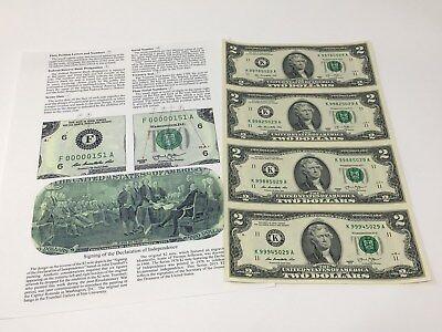 2013 Series Uncut sheet Four $2 Bills (Dallas Texas)