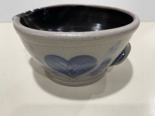 "Rowe Pottery 1996 Salt Glazed Batter Bowl w/ Spout 20 oz. 3 x 6"" Made by DL"
