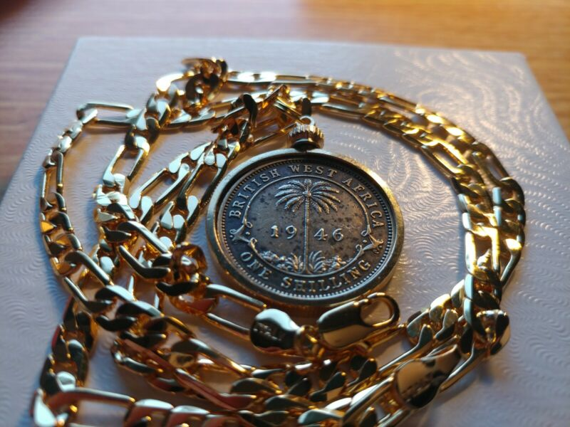 """1946 British West Africa Palm Tree Shilling Pendant on 24""""18k Gold Filled Chain"""
