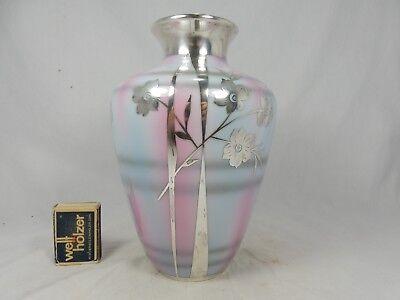 Schöne DEUSCH  Art Déco  Silber Porzellan silver overlay vase Abstract Flowers