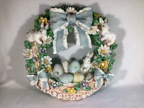 Hand Painted Ceramic Easter Wreath