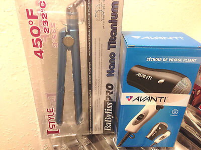 Babyliss Nano Titanium and Ceramic Digital Flat Iron + BONUS FREE HAIR DRYER