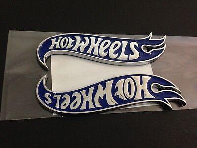 NEW Hot Wheels LH & RH Fender Emblems Badge Blue & Chrome For Mustang Camaro