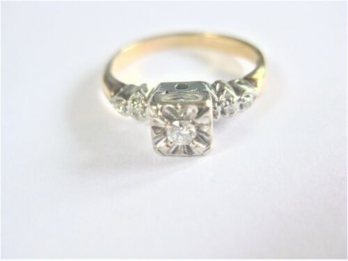 Antique Ring Gold 585 with Diamonds, 0.0772oz