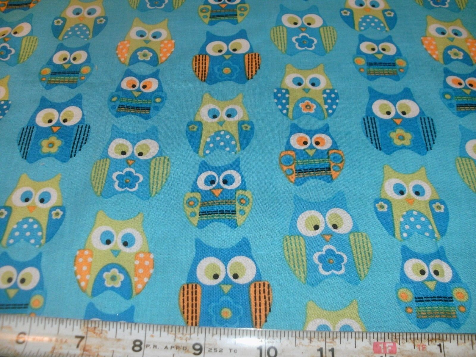 1 fq springs fabric owl owls lime