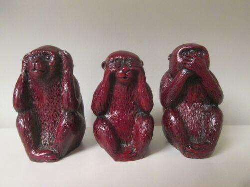 Hear No Evil, See No Evil Speak No Evil Red Resin Monkeys Figurines