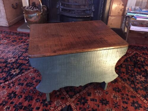 Early Six Plank Pine Footstool Storage Stool Sewing Storage Box