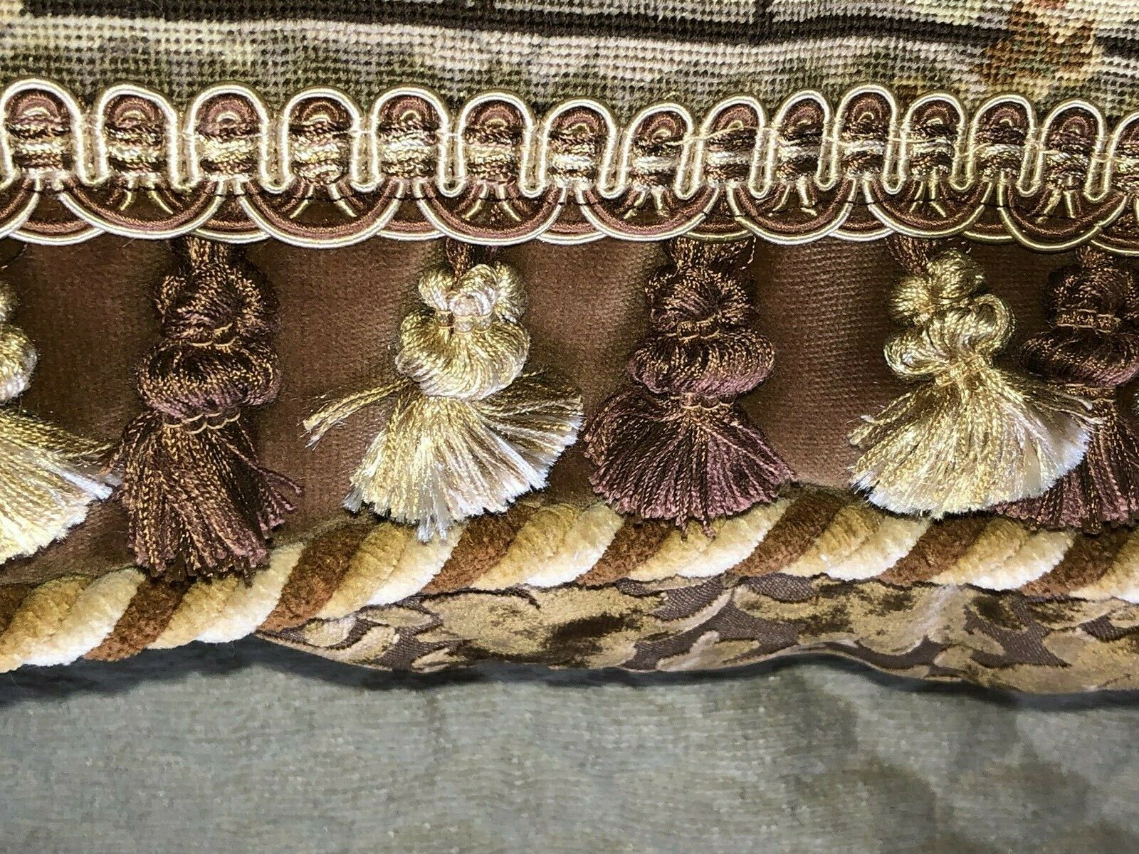 HUGE STUNNING ANTIQUE NEEDLEPOINT/PETITPOINT TAPESTRY PILLOW FIGURAL WITH DOG  - $695.00