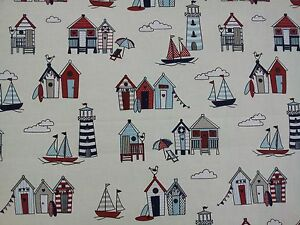 Happy-Days-Nautical-Blue-Red-Beach-Huts-Cotton-Fabric
