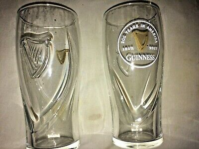 GUINNESS, 200 years in America  20oz GRAVITY BEER PINT GLASS (SET OF 2) Unique Beer Pint Glass Set