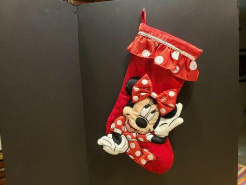 Disney Parks Minnie Mouse Plush Christmas Holiday Stocking RARE AND HTF