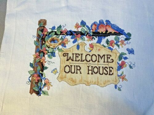 Stitching Complete, Counted Cross Stitch, Welcome to Our House, Ready to Frame