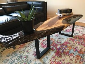 Coffee table epoxy resin river table with pebbles - bench sofa