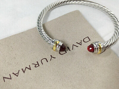 David Yurman 925 Silver and 14k Gold 5mm Cable Cuff Ruby Bracelet