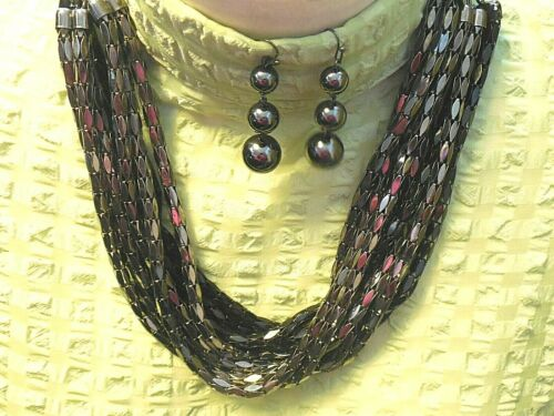 Statement Set 9 Strand Metal Bead Necklace & Metal Ball Pierced Earrings