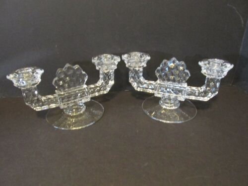 Vintage Pair Art Deco Glass Candle Holder Clear Glass