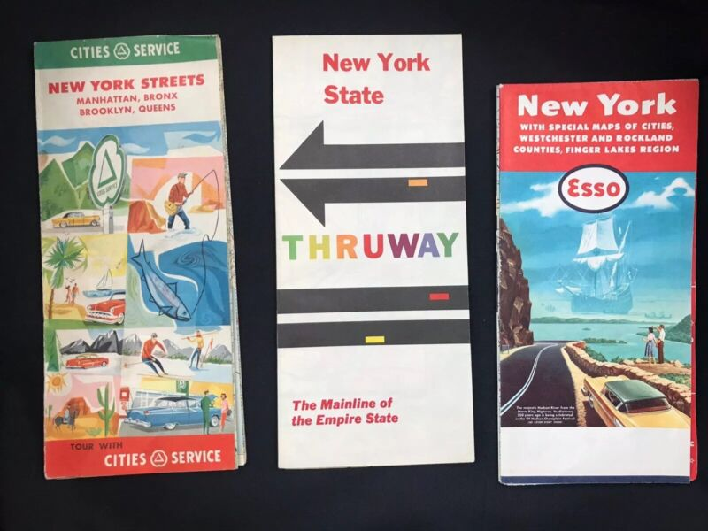 Lot Of 3 Road Maps New York Esso Gas