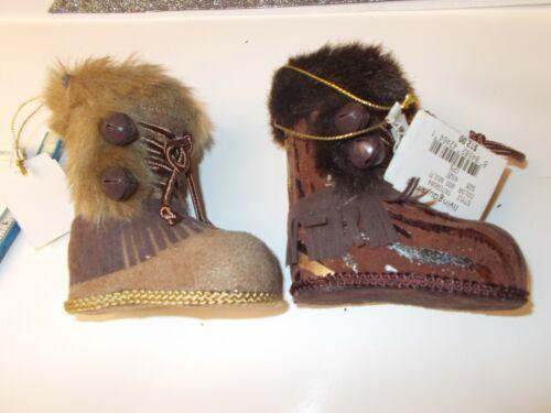2 BROWN  Christmas Boots Ornaments /Bells ,Fur, Brown, Fringe