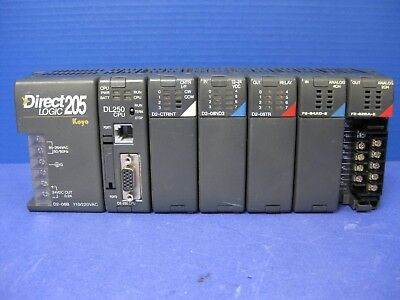 Direct Logic 205 6-slot Plc W Dl250 Cpu And 5 Modules Used